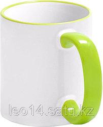 Кружка цветная для сублимации (белая со светло-зеленой каемкой и ручкой)