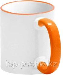 Кружка цветная для сублимации (белая с оранжевой каемкой и ручкой)