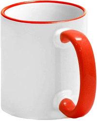 Кружка цветная для сублимации (белая с красной каемкой и ручкой)