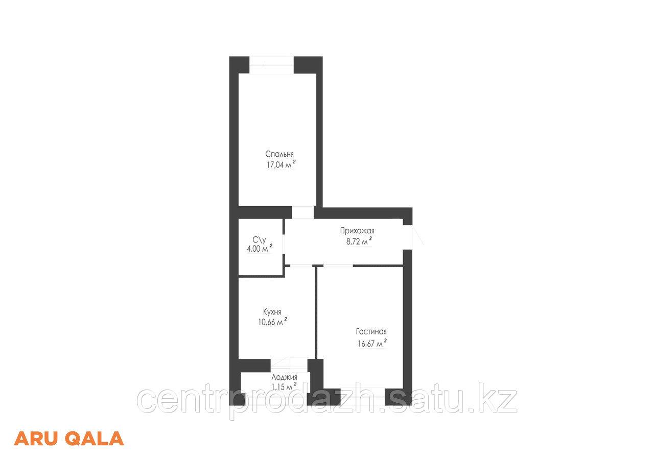 2 комнатная квартира в ЖК Aru Qala 58.82 м²
