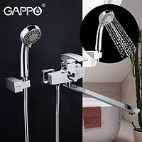 Смеситель ванна-душевой GAPPO с изливом (35см) и переключателем в корпусе хром, G2207