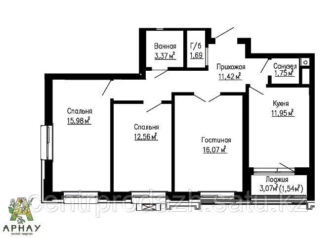 3 комнатная квартира в ЖК Арнау 77.09 м²