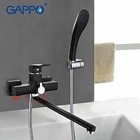 Смеситель ванна-душевой GAPPO с изливом (35cm) и переключателем в корпусе черный G2250-35F