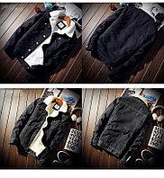 Молодежная джинсовая куртка с имитацией овечьей шерсти черная