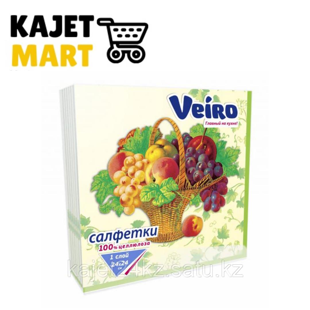 Салфетки столовые сервировочные, Veiro, С РИСУНКОМ корзина с фруктами, 3-сл.,20 шт.