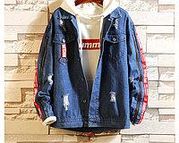 Модная джинсовая куртка синяя