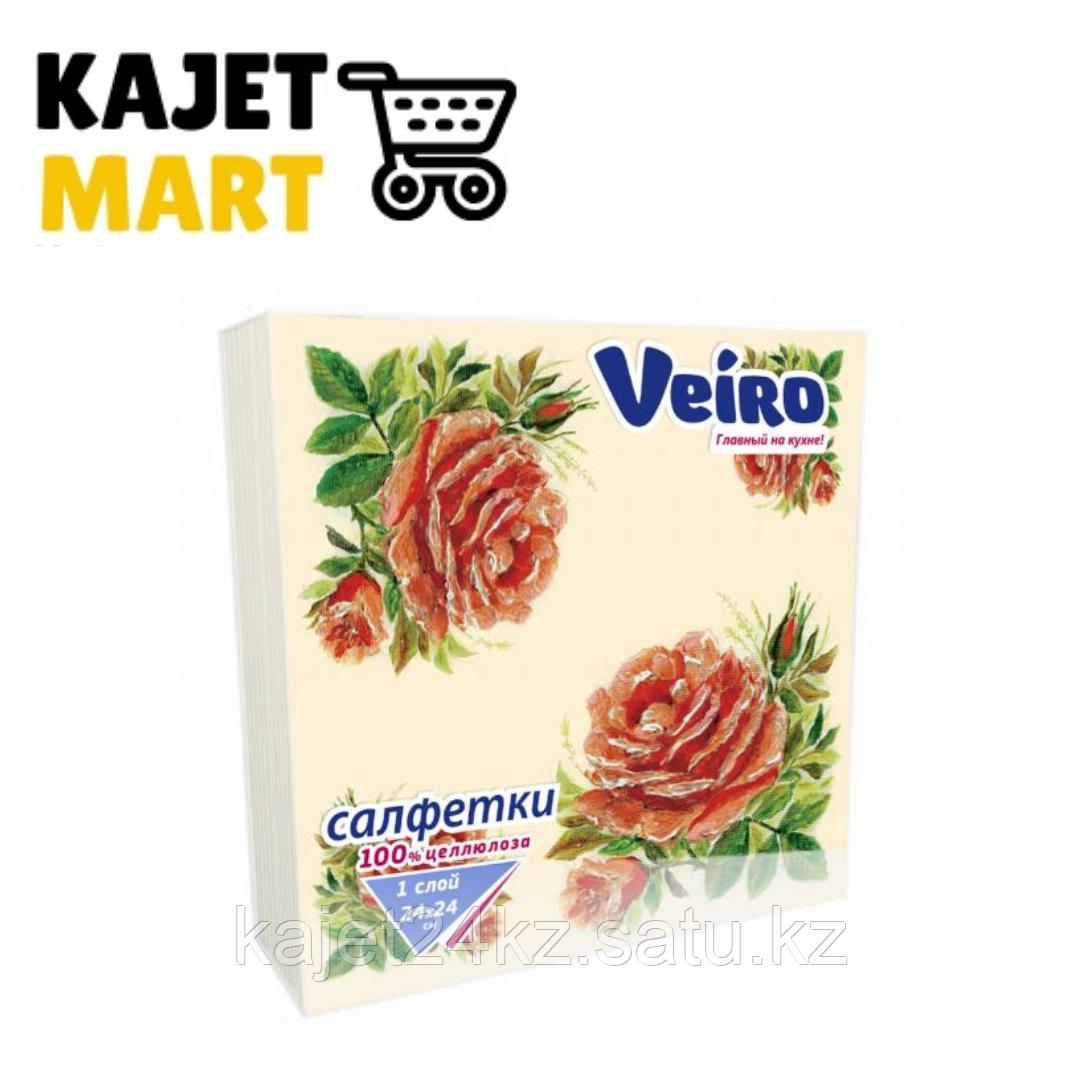 Салфетки столовые сервировочные, Veiro, С РИСУНКОМ розы, 3-сл.,20 шт.
