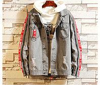 Модная джинсовая куртка серая, фото 1
