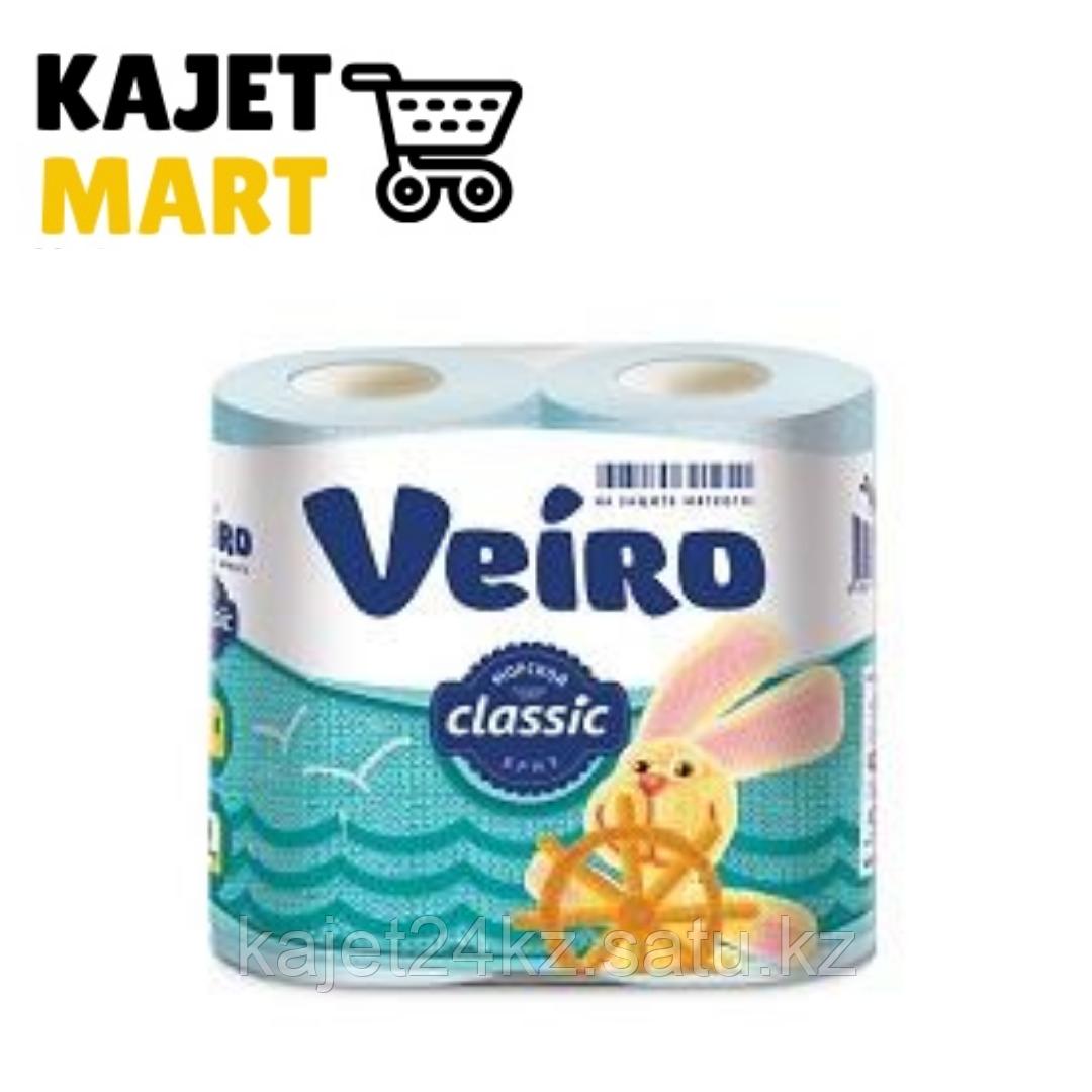 Бумага туалетная Veiro Classic, ПАСТЕЛЬ голубой, 2-сл., 4 рул.
