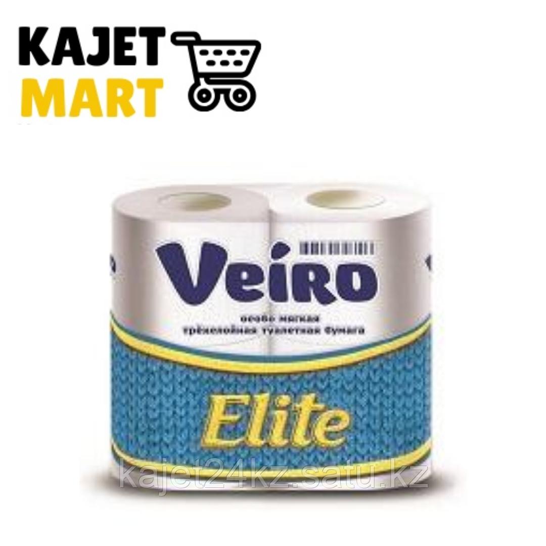 Бумага туалетная Veiro Elite, БЕЛЫЙ, 3-сл., 4 рул.