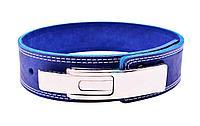 Пояс для жима лежа с карабином, 2 слоя, 6 см, L (80-100 см), синий