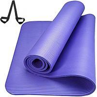 Коврик для йоги и фитнеса NBR 183*61*1 см, с ремешком, ультрамарин