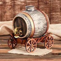 Бочка для вина 'Телега' 3.6 л, под золото кран