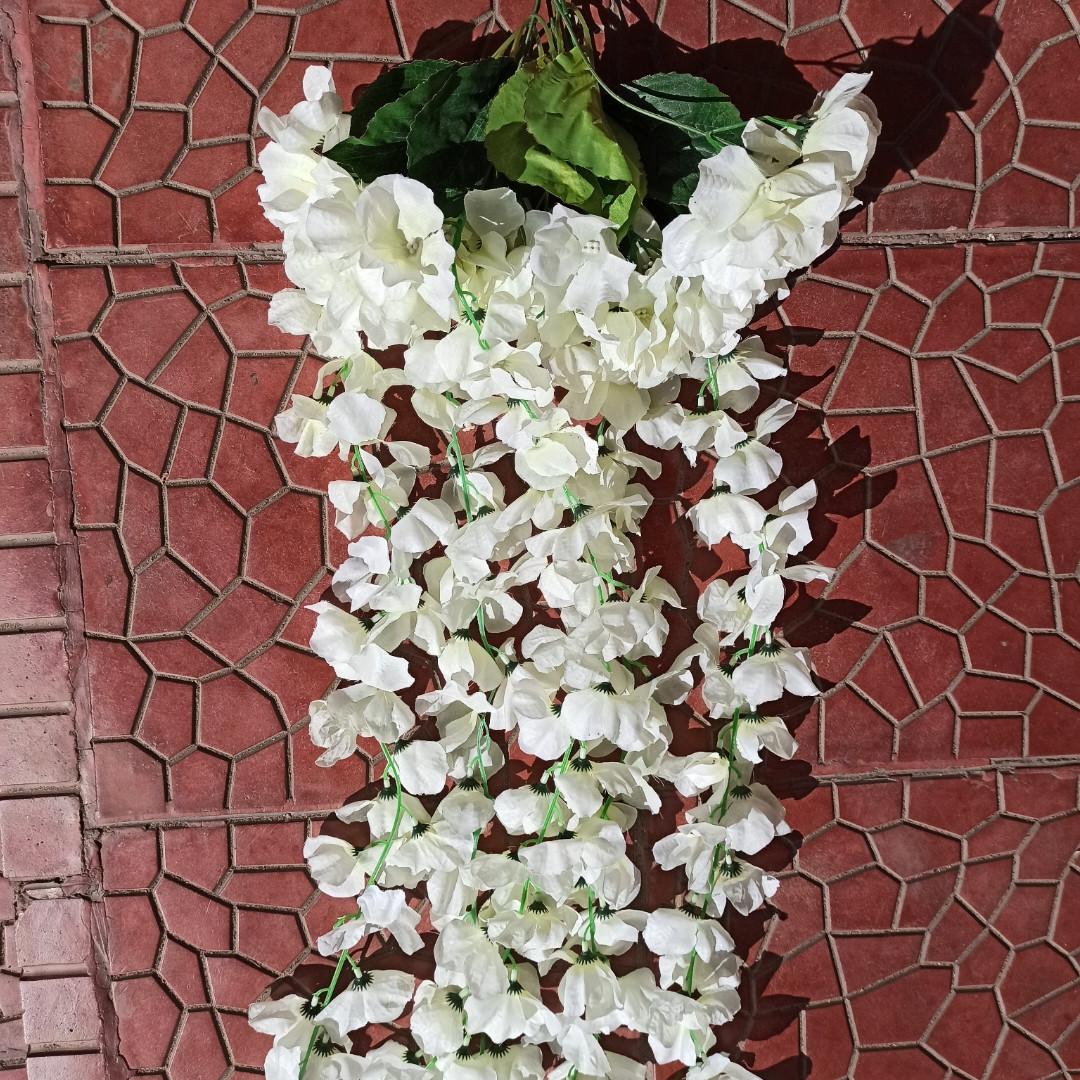 """Цветы искусственные """"Глициния"""" белая"""