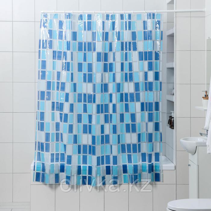 Штора для ванной комнаты Доляна «Мозайка синяя», 180×180 см, PVC
