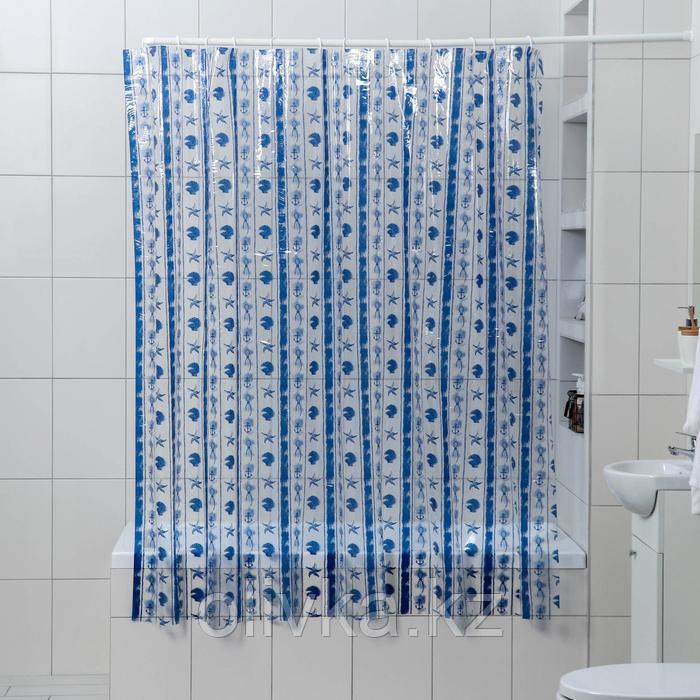 Штора для ванной комнаты Доляна «Морская синева», 180×180 см, PVC