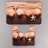 Набор ковриков для ванны и туалета Доляна «Ракушки», 2 шт: 45×70, 39×45 см, фото 2