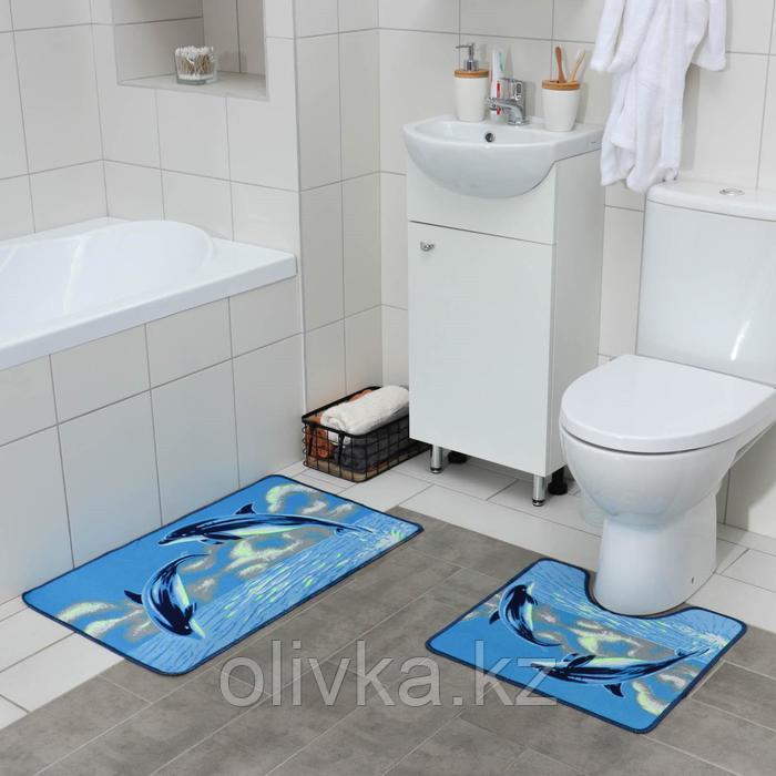 Набор ковриков для ванны и туалета «Дельфины», 2 шт× 48×78, 48×45 см