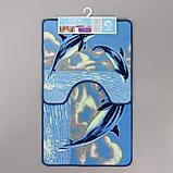 Набор ковриков для ванны и туалета «Дельфины», 2 шт× 48×78, 48×45 см, фото 4