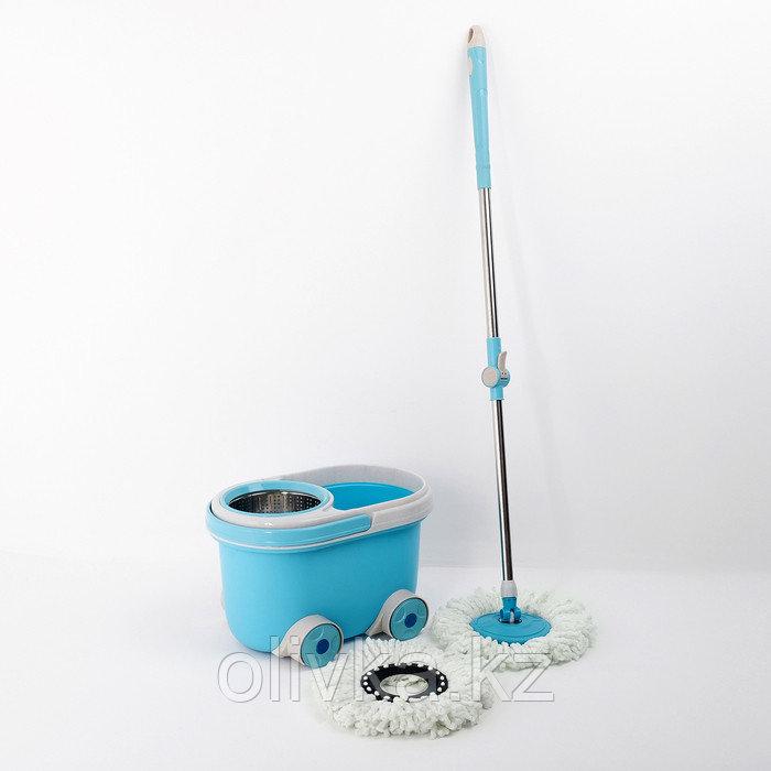 Набор для уборки: ведро на колёсиках с металлической центрифугой 16 л, швабра, запасная насадка из микрофибры,