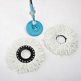Набор для уборки: ведро на колёсиках с металлической центрифугой 16 л, швабра, запасная насадка из микрофибры,, фото 3