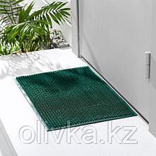 Покрытие ковровое щетинистое «Травка», 39×59 см, цвет тёмно-зелёный
