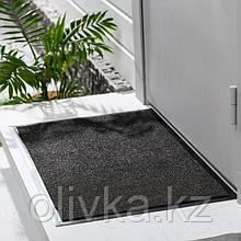 Коврик придверный влаговпитывающий, ребристый, «Комфорт», 90×120 см, цвет чёрный