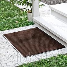 Коврик придверный влаговпитывающий, ребристый, «Стандарт», 90×120 см, цвет коричневый