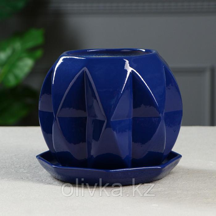 """Цветочный горшок """"Сфера"""" 1,5 л глазурь, синий"""
