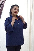 Блуза в крапинку синяя женская 2020