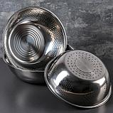 Набор посуды, 3 предмета: дуршлаг 21×8 см, салатник 26×8,5 см, салатник 28×8 см, фото 7