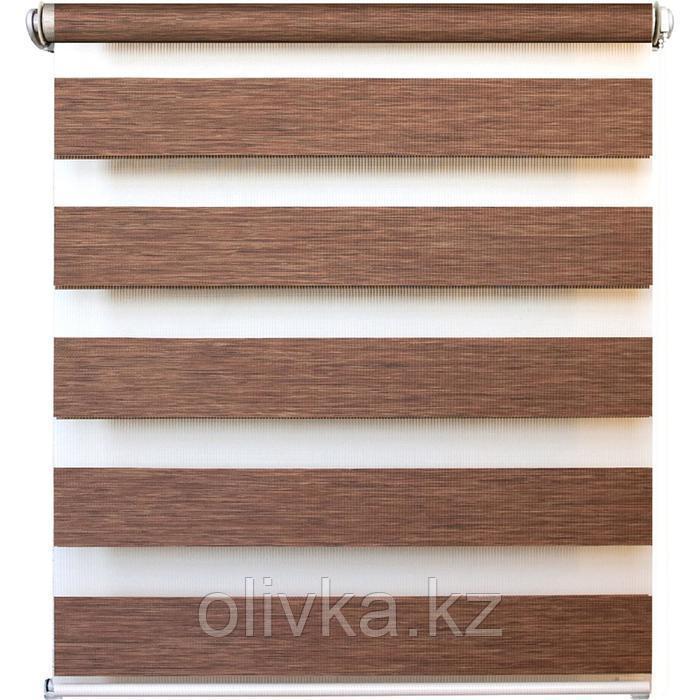 Рулонная штора день/ночь «Канзас», 61 х 160 см, цвет коричневый