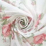 Штора вуаль печать роза 140х145 см, цвет красный, фото 3