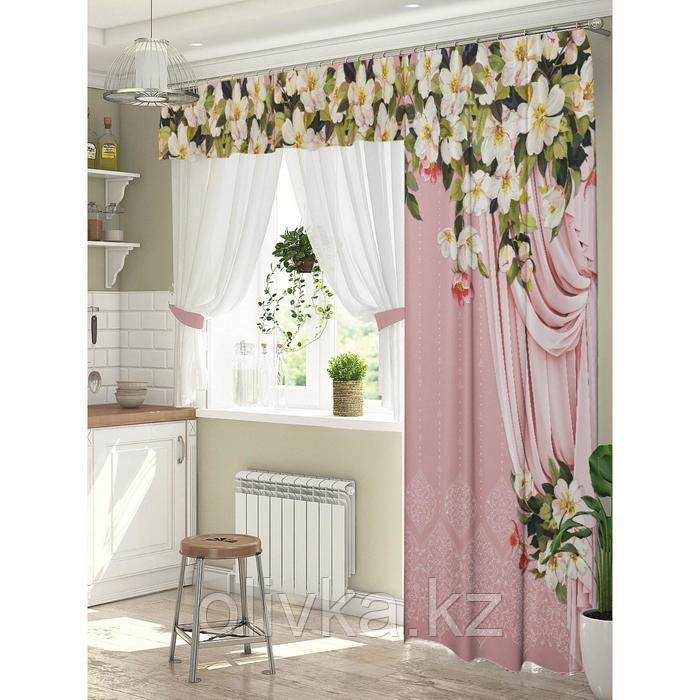 Комплект штор Дефиле розовый штора (147х267 см), тюль (294х160 см), габардин, пэ 100%