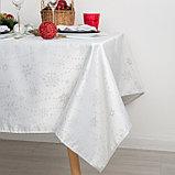 Скатерть Доляна «Серебряные снежинки» цвет белый, 110×150 см, 115 ± 10 г/м², 100% п/э, фото 2