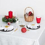 Скатерть Доляна «Серебряные снежинки» цвет белый, 110×150 см, 115 ± 10 г/м², 100% п/э, фото 3
