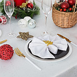 Скатерть Доляна «Серебряные снежинки» цвет белый, 110×150 см, 115 ± 10 г/м², 100% п/э, фото 4