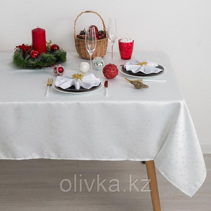 Скатерть Доляна «Звёзды», цвет белый, 110х150 см, полиэстер, 115 ±10 гр/м2