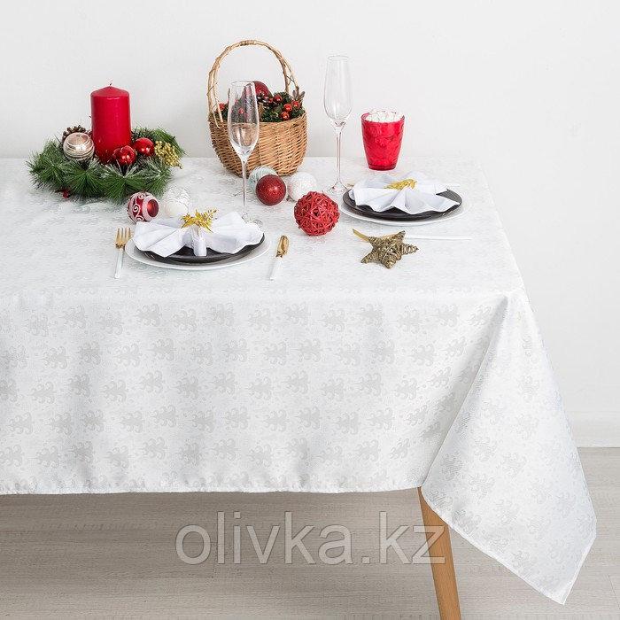 Скатерть Доляна «Серебряные ёлочки» цвет белый, 110×150 см, 115 ± 10 г/м², 100% п/э
