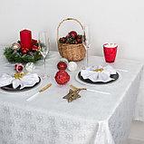 Скатерть Доляна «Серебряные ёлочки» цвет белый, 110×150 см, 115 ± 10 г/м², 100% п/э, фото 2