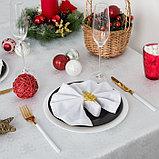 Скатерть Доляна «Серебряные ёлочки» цвет белый, 110×150 см, 115 ± 10 г/м², 100% п/э, фото 3