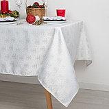 Скатерть Доляна «Серебряные ёлочки» цвет белый, 110×150 см, 115 ± 10 г/м², 100% п/э, фото 4
