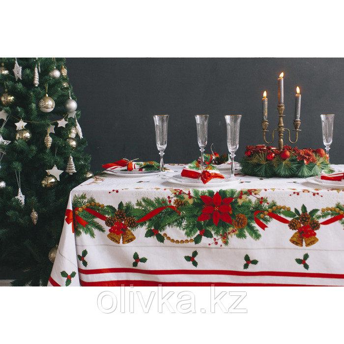 """Набор столовый Этель """"Рождественский бал"""" скатерть 220*150 см, салфетки 40*40 см 12 шт, хлопок 100%"""