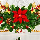 """Набор столовый Этель """"Рождественский бал"""" скатерть 220*150 см, салфетки 40*40 см 12 шт, хлопок 100%, фото 7"""