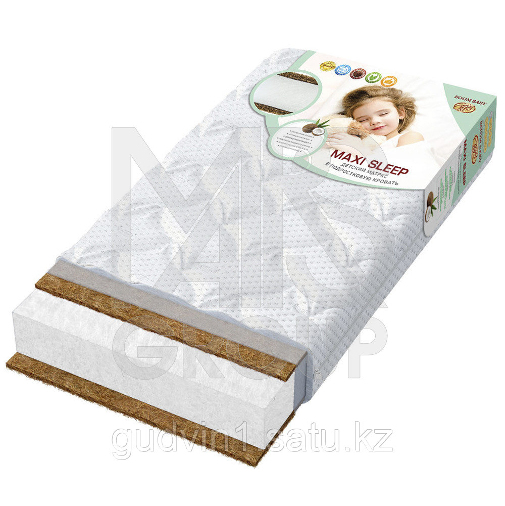 BOOM BABY Матрац детский беспружинный «Maxi Sleep», 160х80х12 стеганый трикотаж белый 160х80-maxi-S/ст