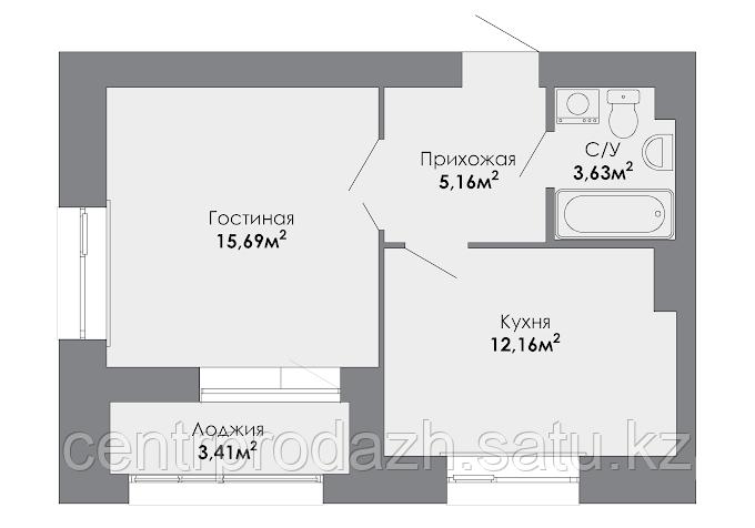 1 комнатная квартира в ЖК Adal 39.2 м²