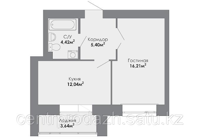 1 комнатная квартира в ЖК Adal 40.08 м²