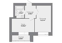 1 комнатная квартира в ЖК Adal 40.08 м², фото 1