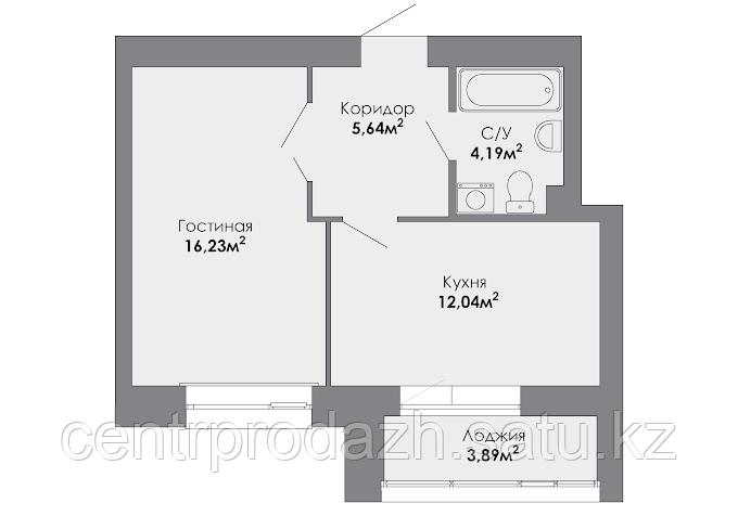 1 комнатная квартира в ЖК Adal 41.02 м²