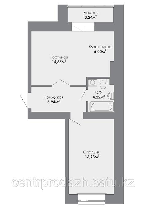 2 комнатная квартира в ЖК Adal 51.37 м²